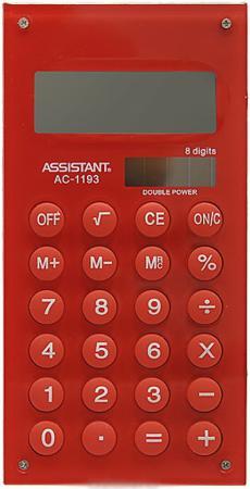 Калькулятор карманный Assistant AC-1193Red 8-разрядный AC-1193Red калькулятор assistant ac 1193 8 разрядный цвет зеленый