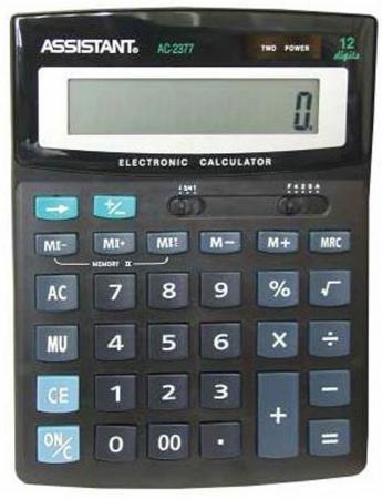 Калькулятор 12-разр., двойное питание, двойная память, черный пластик, разм. 195х149х47,5 мм AC-2377 калькулятор настольный assistant ac 2132 8 разрядный ac 2132