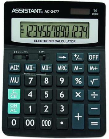 Калькулятор настольный Assistant AC-2477 14-разрядный черный калькулятор настольный assistant ac 2132 8 разрядный ac 2132