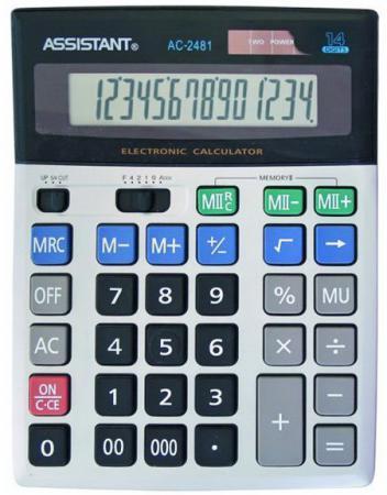 Калькулятор настольный Assistant AC-2481 14-разрядный AC-2481 калькулятор assistant ac 2341 настольный в коробке