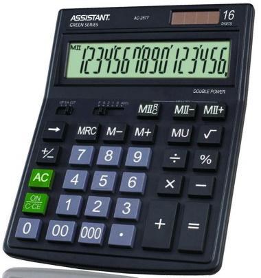 Калькулятор настольный Assistant AC-2577 16-разрядный черный калькулятор настольный assistant ac 2132 8 разрядный ac 2132