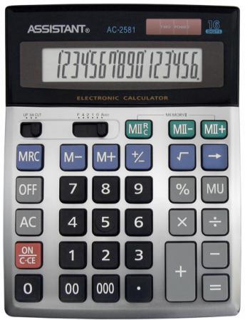 Калькулятор настольный Assistant AC-2581 16-разрядный серебристый калькулятор настольный assistant ac 2132 8 разрядный ac 2132