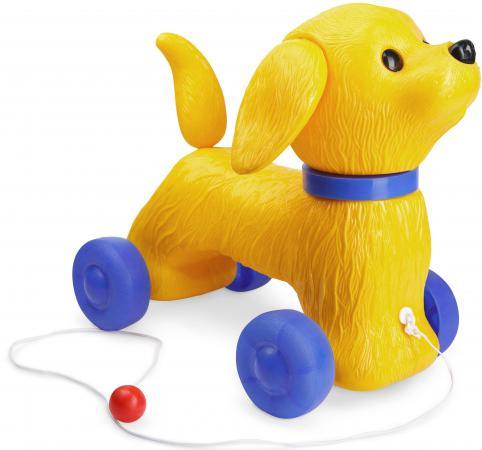 Каталка на шнурке Огонек Собака Шарик пластик от 2 лет на колесах желтый C-1353