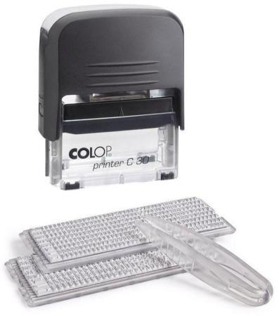 Штамп, пласт.,самонаборный,5-строчный Printer C30-Set,2 кассы, русифицированный (аналог 4912/DB) Printer30-SET штамп самонаборный trodat 5 строчный 4913 db 2 кассы пластик 58 22мм