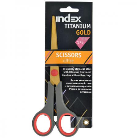 Купить Ножницы Index TITANIUM GOLD 17.5 см ISC602, серый