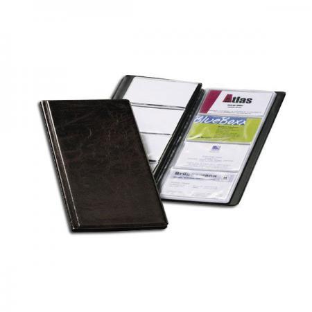 Визитница VISIFIX на 96 визиток, пластиковая обложка, размер 25,3х11,5 см, коричневая