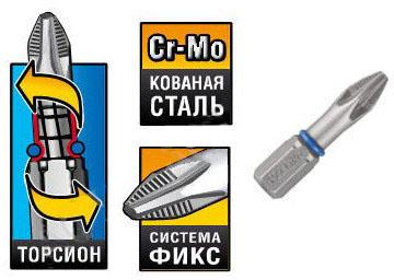Бита торсионная кованая Зубр Эксперт 26011-2-100-1 бита торсионная kraftool expert кованая обточенная тип хвостовика e 1 4 ph2 100 мм