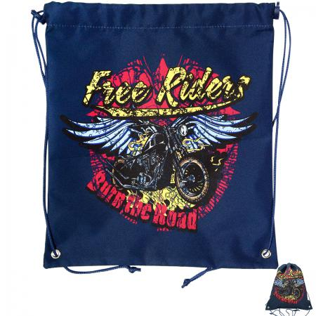 Мешок для обуви ACTION by TIGER, Free Riders, Мотоцикл с крыльями, разм.37 х 33 см, синий,для мальч 21012/A/3B