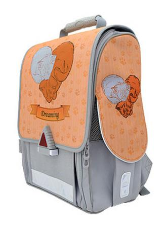 Ранец с анатомической спинкой Action! 21009/A/1G серый оранжевый ранец action action by tiger с анатомической спинкой черный