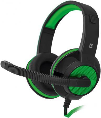 Наушники Defender Warhead G-200 черно-зеленый 64119 игровые наушники defender warhead g 280 64125