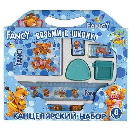 Набор канцелярский FANCY, 8 предметов, в картонной упаковке, ассорти 4 цвета FSS103/8/1 канцелярский набор карамба 005070 8 предметов