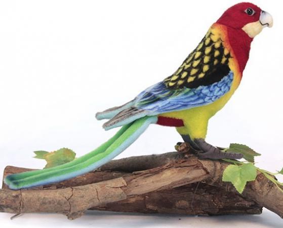 Мягкая игрушка попугай Hansa Розелла 36 см разноцветный искусственный мех синтепон 6234