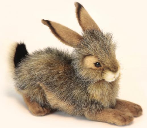 Мягкая игрушка кролик Hansa Кролик черный 25 см разноцветный искусственный мех синтепон пластик 6284