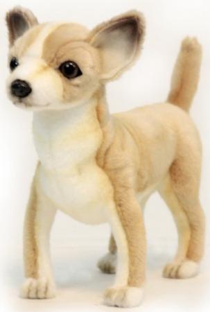 Мягкая игрушка собака Hansa Чихуахуа 27 см белый желтый коричневый искусственный мех синтепон 6295 мягкая игрушка собака hansa хаски 75 см белый коричневый синтепон искусственный мех 6031
