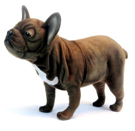 Мягкая игрушка собака Hansa Французский бульдог, стоящий 26 см коричневый искусственный мех синтепон 6594 мягкая игрушка утенок hansa утенок 20 см желтый искусственный мех синтепон 4857