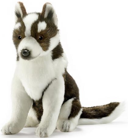 Мягкая игрушка собака Hansa Щенок хаски 25 см белый коричневый искусственный мех синтепон 5269 мягкая игрушка собака hansa хаски 75 см белый коричневый синтепон искусственный мех 6031