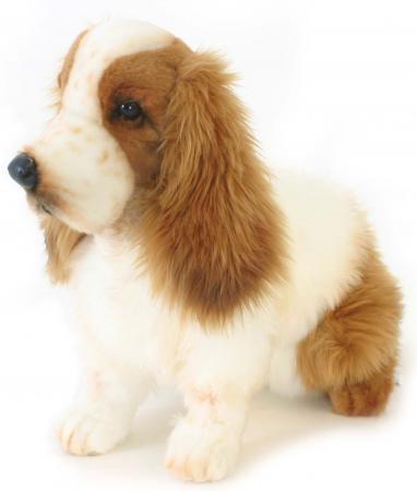 Мягкая игрушка собака Hansa Кокер-Спаниель 28 см рыжий белый искусственный мех синтепон пластик 5275 английский кокер спаниель