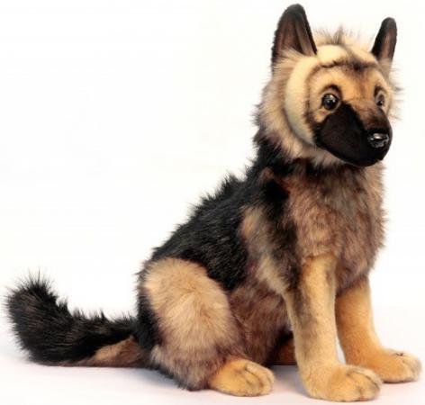 Мягкая игрушка щенок Hansa Щенок немецкой овчарки 41 см желтый черный искусственный мех синтепон 3995