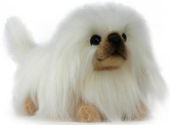 Мягкая игрушка собака Hansa Пекинес 28 см белый коричневый искусственный мех синтепон 3419 кровать orthosleep примавера уно жесткое основание сонтекс умбер 120х200