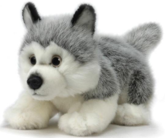 Мягкая игрушка собака Hansa Щенок Хаски 25 см белый серый искусственный мех синтепон 3973