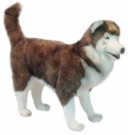 Мягкая игрушка собака Hansa Хаски 75 см белый коричневый синтепон искусственный мех 6031 мягкая игрушка hansa хаски серый стоящий 75 см 6034