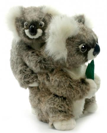 Мягкая игрушка коала Hansa Коала с детенышем 28 см белый серый искусственный мех синтепон пластик 2728