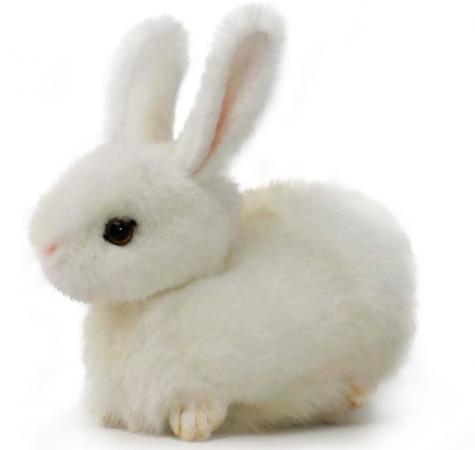 Мягкая игрушка заяц Hansa Заяц 17 см белый искусственный мех синтепон пластик 2832