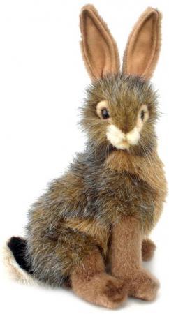 Мягкая игрушка заяц Hansa Чернохвостый заяц 23 см серый коричневый черный искусственный мех синтепон 3754 мягкие игрушки hansa чернохвостый заяц 23 см