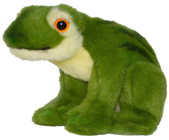 Мягкая игрушка лягушонок Hansa Зеленая лягушка 16 см зеленый искусственный мех синтепон пластик 1752