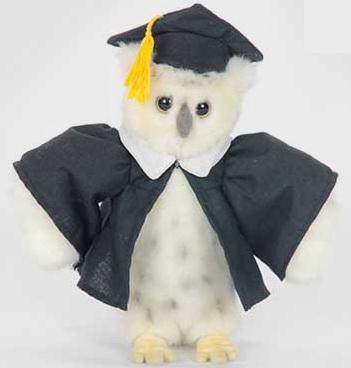 Мягкая игрушка сова Hansa Сова выпускник 18 см белый искусственный мех синтепон 6326 hansa мягкая игрушка сова hansa 25см