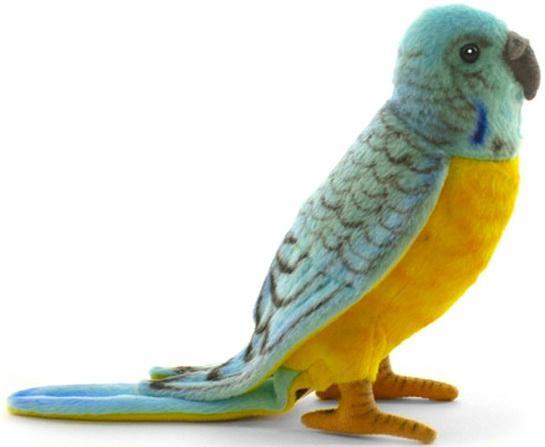 Мягкая игрушка попугай Hansa Попугай волнистый голубой 15 см разноцветный искусственный мех синтепон 4653П