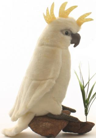 Мягкая игрушка попугай Hansa Большой белохохлый какаду 22 см белый искусственный мех 3916