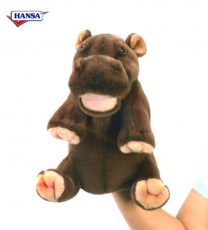 Мягкая игрушка бегемот Hansa Гиппопотам 24 см коричневый искусственный мех 4037 hansa бегемот 80 см
