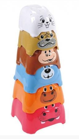 Пирамида Playgo Пирамида c животными 6 элементов развивающий центр playgo для самых маленьких