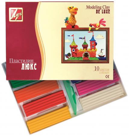 Пластилин ЛЮКС со стеком, 10 цв., карт уп., 175 г пластилин schoolформат magic princess со стеком 8 цв