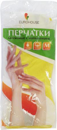 Перчатки хозяйственные EURO HOUSE латекс х/б напыление M 3701 teak house стол консольный britt