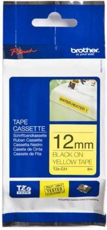 Купить Лента ламинирования Brother TZe-C31 12ммх5м черный на флуоресцентном желтом