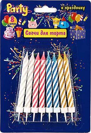 Набор свечей Action! API0301 8 шт 8 см набор свечей омский cвечной завод цвет оранжевый высота 24 см 10 шт