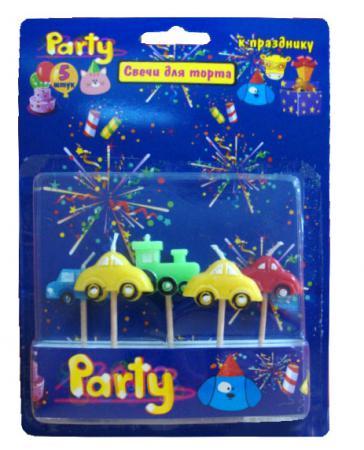 Набор свечей Action! МАШИНКИ 5 шт 17 см API0313 набор свечей action элегантные 16 см 24 шт api0308