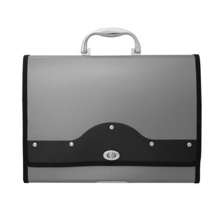 Папка-портфель METALLIC с металлическим замком, 13 отделений, А4, серебряная IEF01/SL папка портфель бюрократ bpp6lgrn 6 отделений a4 зеленый