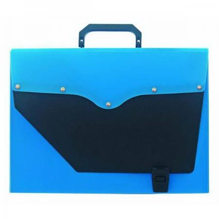 Папка-портфель без отделений, А4, синяя с черным клапаном IEF50/BU папка портфель бюрократ bpp6lgrn 6 отделений a4 зеленый