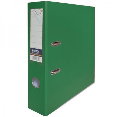 Папка-регистратор с покрытием PVC, 80 мм, А4, зеленая IND 8/50 PP GN папка регистратор с покрытием pvc 80 мм а4 черная ind 8 24 pvc чер