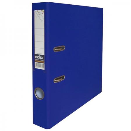 Папка-регистратор с покрытием PVC и металлической окантовкой, 50 мм, А4, темно-синяя IND 5/50 PP NEW DB deli гастроном 5606 основная хозяйственная серия pp толщиной velcro файл коробка а4 55мм темно серый single нагруженный