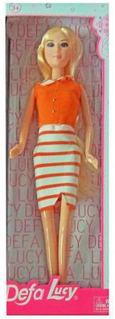 Кукла Defa Lucy Модница в бело-оранжевом платье 8316stripe кукла defa lucy 8336
