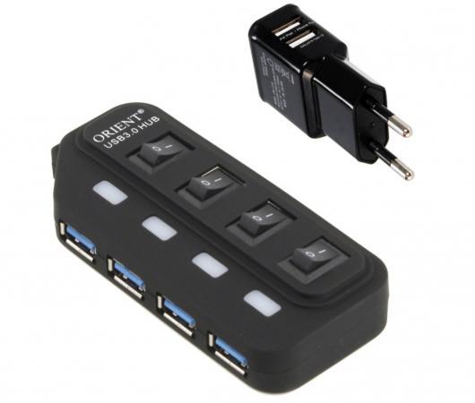 Концентратор USB 3.0 ORIENT BC-306PS 4 х USB 3.0 черный концентратор usb 3 0 orient bc 306 4 х usb 3 0 черный