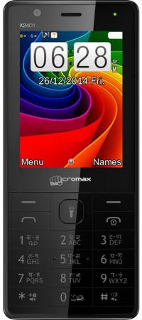 Мобильный телефон Micromax X2401 черный 2.4 200 Мб сотовый телефон micromax x2401 white champagne