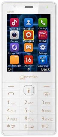Мобильный телефон Micromax X2401 белый шампань 2.4 200 Мб мобильный телефон micromax x2401 черный x2401 black