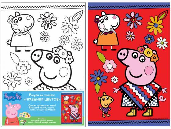 Набор для росписи по холсту РОСМЭН Peppa Pig «Праздник цветов» от 5 лет 30520 росмэн peppa pig superstar