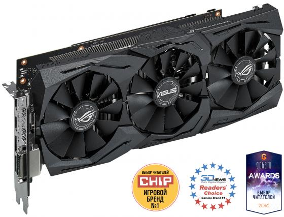 Видеокарта 8192Mb ASUS GeForce GTX1080 PCI-E 256bit GDDR5X DVI HDMI DP STRIX-GTX1080-A8G-GAMING Retail видеокарта asus 4096mb rx 560 strix rx560 o4g evo gaming dvi dp hdmi ret