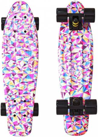 Скейтборд Y-SCOO Fishskateboard Print 22 RT винил 56,6х15 с сумкой Rhombus 401G-R rt 402e g скейтборд big fishskateboard glow 27 винил 68 6х19 с сумкой green green